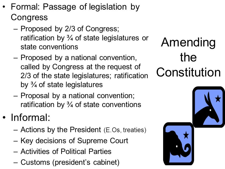 Amending the Constitution Formal: Passage of legislation by Congress –Proposed by 2/3 of Congress; ratification by ¾ of state legislatures or state conventions –Proposed by a national convention, called by Congress at the request of 2/3 of the state legislatures; ratification by ¾ of state legislatures –Proposal by a national convention; ratification by ¾ of state conventions Informal: –Actions by the President (E.Os, treaties) –Key decisions of Supreme Court –Activities of Political Parties –Customs (president's cabinet)
