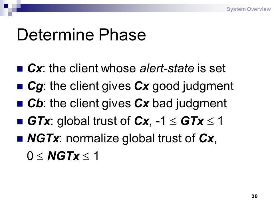 30 Determine Phase Cx: the client whose alert-state is set Cg: the client gives Cx good judgment Cb: the client gives Cx bad judgment GTx: global trust of Cx, -1  GTx  1 NGTx: normalize global trust of Cx, 0  NGTx  1 System Overview