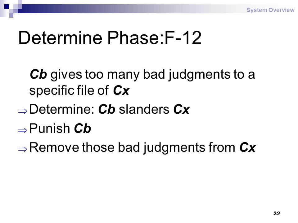 32 Determine Phase:F-12 Cb gives too many bad judgments to a specific file of Cx  Determine: Cb slanders Cx  Punish Cb  Remove those bad judgments