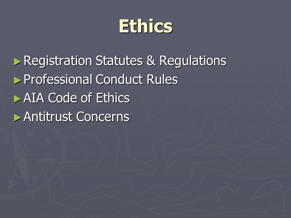 Ethics ► Registration Statutes & Regulations ► Professional Conduct Rules ► AIA Code of Ethics ► Antitrust Concerns