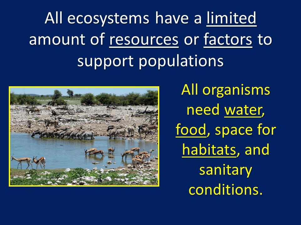 All ecosystems have a limited amount of resources or factors to support populations All organisms need water, food, space for habitats, and sanitary c