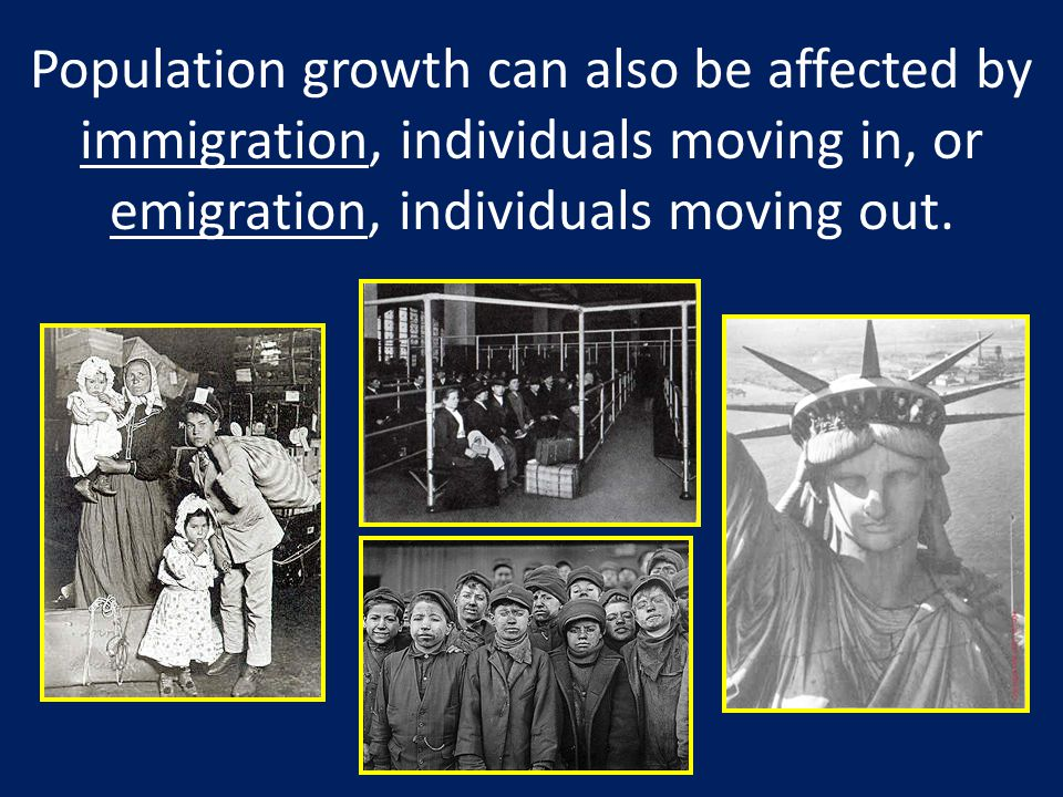 Population growth can also be affected by immigration, individuals moving in, or emigration, individuals moving out.