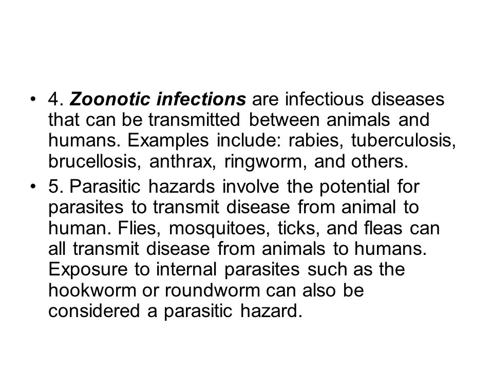 4. Zoonotic infections are infectious diseases that can be transmitted between animals and humans.