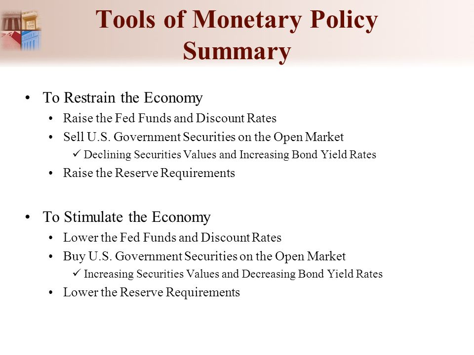 Tools of Monetary Policy Summary To Restrain the Economy Raise the Fed Funds and Discount Rates Sell U.S. Government Securities on the Open Market Dec