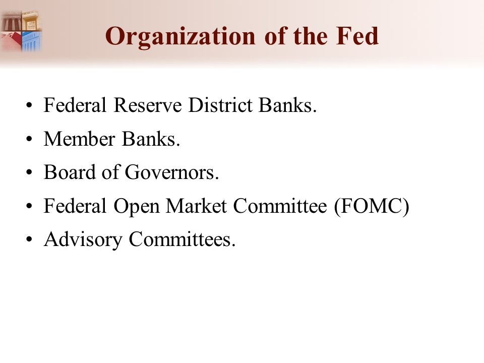 Organization of the Fed Federal Reserve District Banks. Member Banks. Board of Governors. Federal Open Market Committee (FOMC) Advisory Committees.