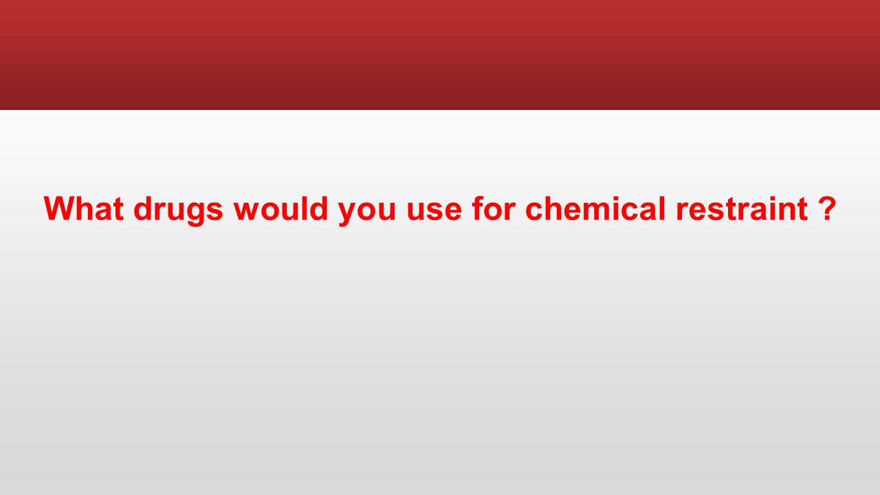 What drugs would you use for chemical restraint
