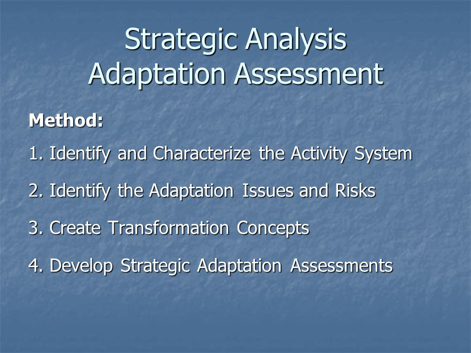 Strategic Analysis Adaptation Assessment Method: 1.