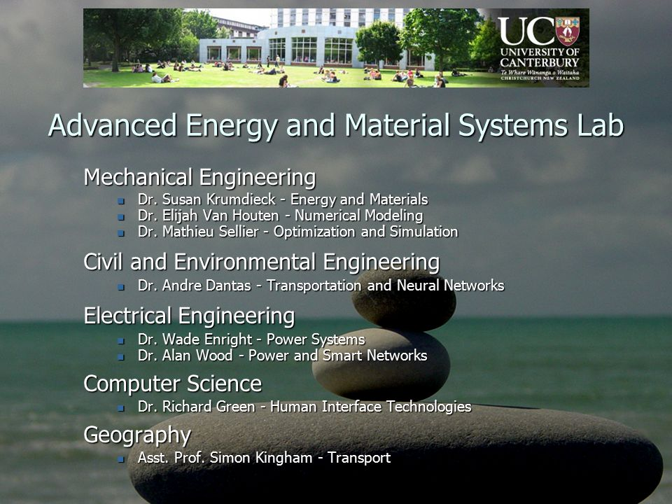 Advanced Energy and Material Systems Lab Mechanical Engineering Dr.