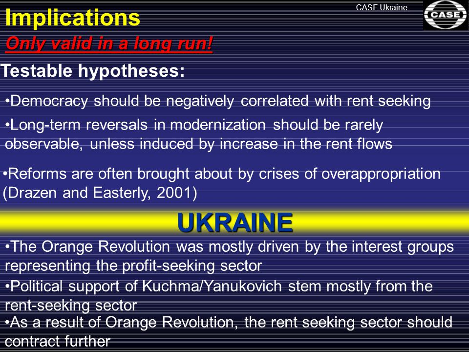 CASE Ukraine Implications Only valid in a long run.