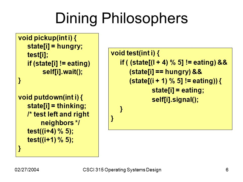 02/27/2004CSCI 315 Operating Systems Design6 Dining Philosophers void pickup(int i) { state[i] = hungry; test[i]; if (state[i] != eating) self[i].wait(); } void putdown(int i) { state[i] = thinking; /* test left and right neighbors */ test((i+4) % 5); test((i+1) % 5); } void test(int i) { if ( (state[(I + 4) % 5] != eating) && (state[i] == hungry) && (state[(i + 1) % 5] != eating)) { state[i] = eating; self[i].signal(); }