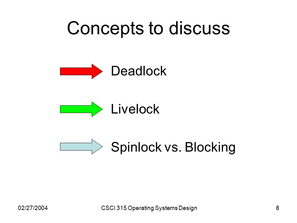 02/27/2004CSCI 315 Operating Systems Design8 Concepts to discuss Deadlock Livelock Spinlock vs.