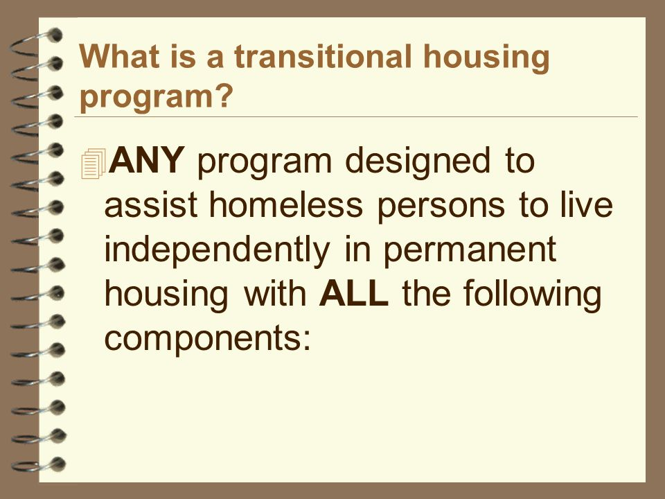 What is a transitional housing program.
