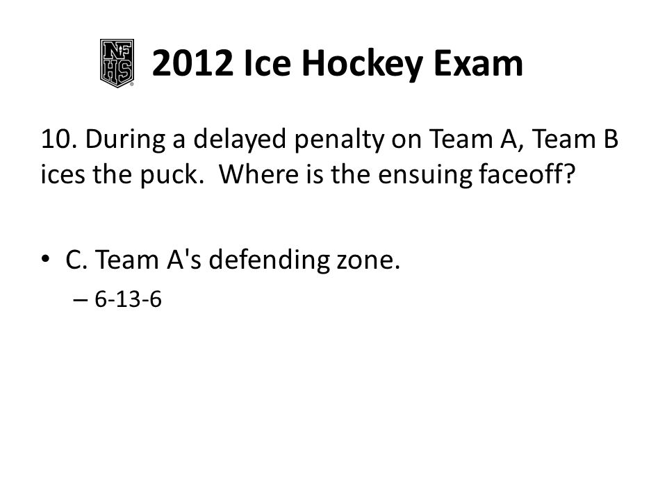 2012 Ice Hockey Exam 10.During a delayed penalty on Team A, Team B ices the puck.