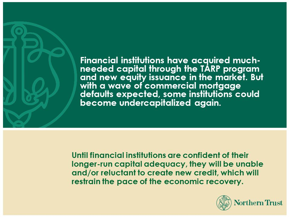 Financial institutions have acquired much- needed capital through the TARP program and new equity issuance in the market.