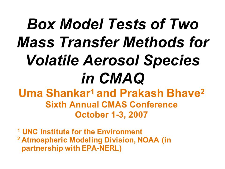 Box-Model Test Results First, compare the fine particle equilibrium approach of CMAQ v4.6 with a reference model: a multi-component aerosol dynamics module (MADM) run with 10 sections Focus of comparisons is total PM concentrations of inorganic species predicted by different models as a function of time.