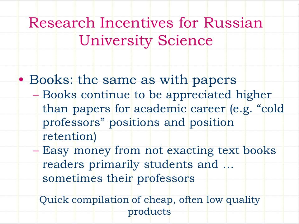 Research Incentives for Russian University Science Books: the same as with papers –Books continue to be appreciated higher than papers for academic career (e.g.