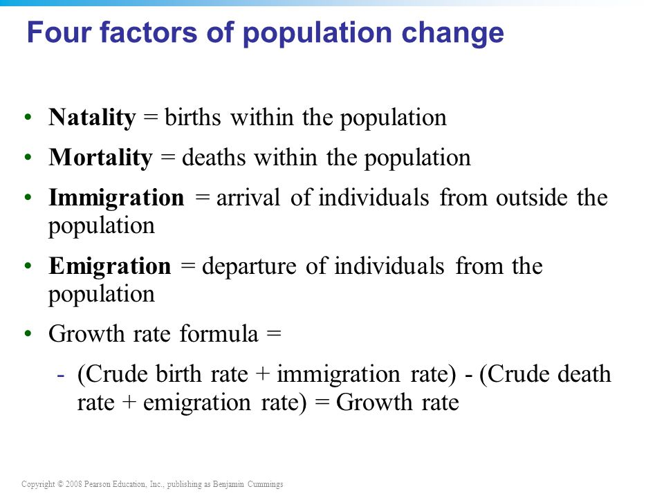 Copyright © 2008 Pearson Education, Inc., publishing as Benjamin Cummings Four factors of population change Natality = births within the population Mortality = deaths within the population Immigration = arrival of individuals from outside the population Emigration = departure of individuals from the population Growth rate formula = -(Crude birth rate + immigration rate) - (Crude death rate + emigration rate) = Growth rate