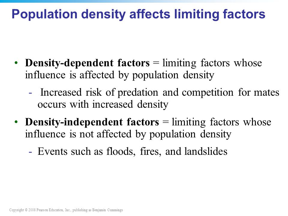 Copyright © 2008 Pearson Education, Inc., publishing as Benjamin Cummings Population density affects limiting factors Density-dependent factors = limiting factors whose influence is affected by population density - Increased risk of predation and competition for mates occurs with increased density Density-independent factors = limiting factors whose influence is not affected by population density -Events such as floods, fires, and landslides