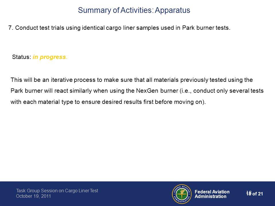18 of 21 Federal Aviation Administration Task Group Session on Cargo Liner Test October 19, 2011 18 7.