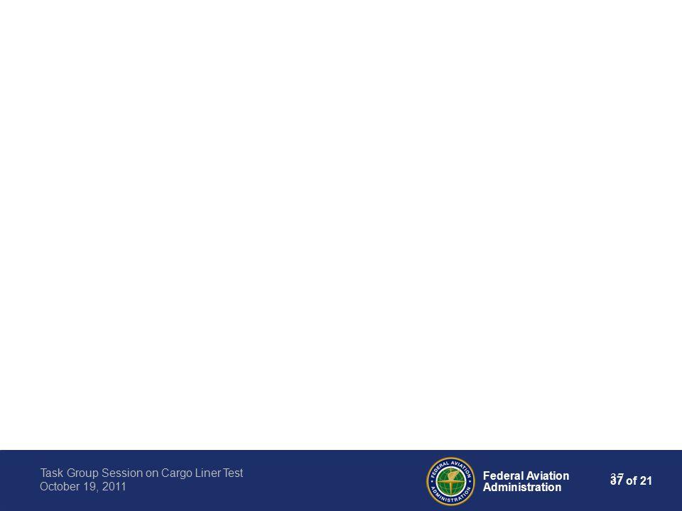 37 of 21 Federal Aviation Administration Task Group Session on Cargo Liner Test October 19, 2011 37