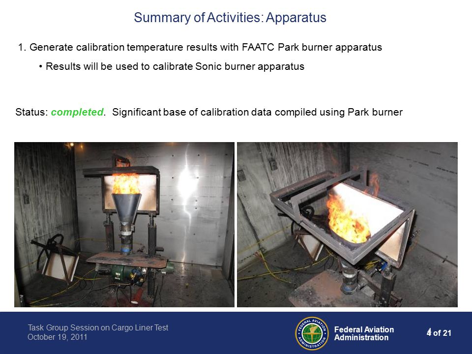 4 of 21 Federal Aviation Administration Task Group Session on Cargo Liner Test October 19, 2011 4 Summary of Activities: Apparatus 1.
