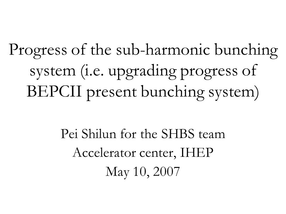 Outline Beam dynamics simulation and mechanical layout Design and study of the two sub-harmonic bunching cavities Design and study of the two RF power source Construction schedule