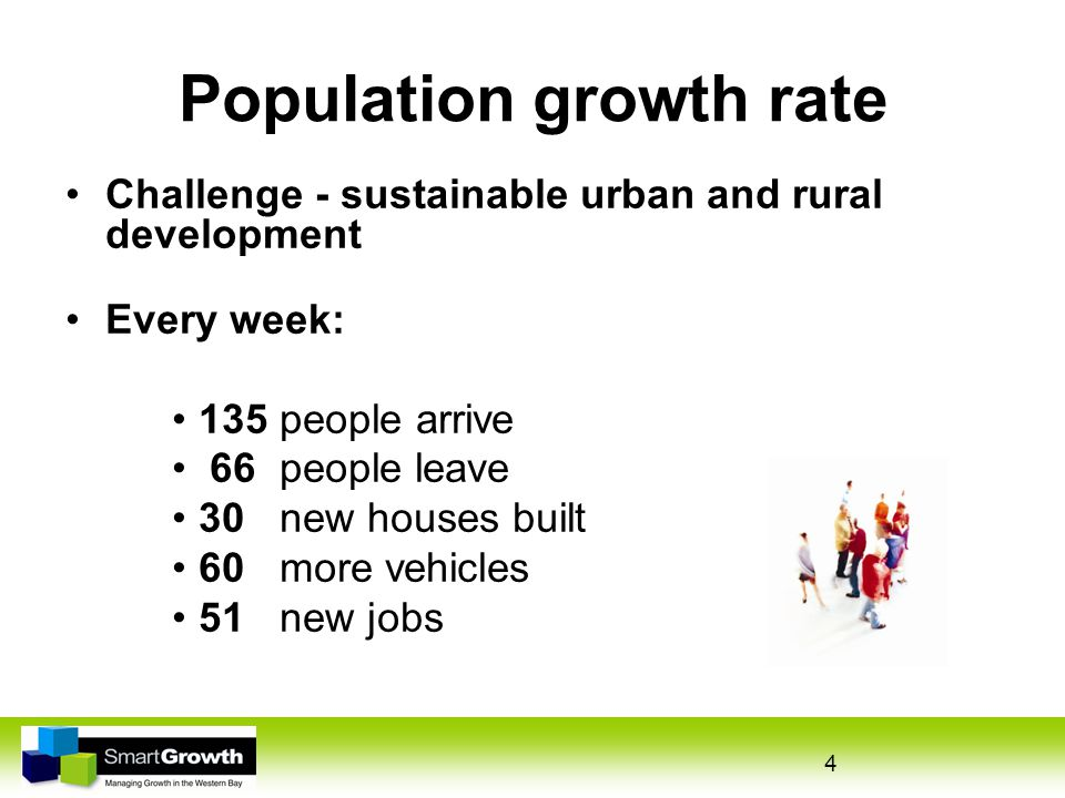 4 Population growth rate Challenge - sustainable urban and rural development Every week: 135 people arrive 66 people leave 30 new houses built 60 more vehicles 51 new jobs