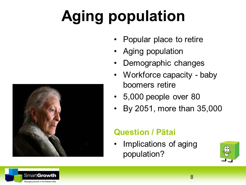 8 Aging population Popular place to retire Aging population Demographic changes Workforce capacity - baby boomers retire 5,000 people over 80 By 2051, more than 35,000 Question / Pātai Implications of aging population