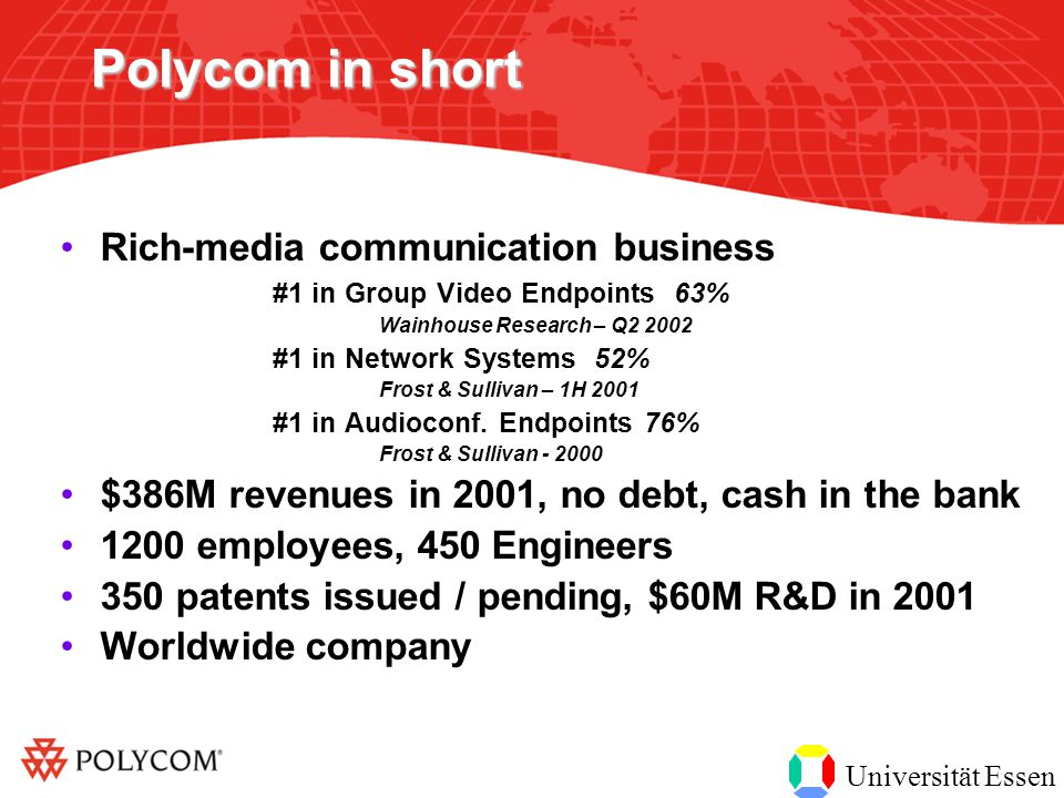 Universität Essen Polycom in short Rich-media communication business #1 in Group Video Endpoints 63% Wainhouse Research – Q2 2002 #1 in Network Systems 52% Frost & Sullivan – 1H 2001 #1 in Audioconf.