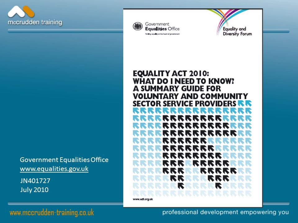 Our Equality Duties To eliminate discrimination, harassment and victimisation To advance equality of opportunity To foster good relations between people who share a protected characteristic and those who do not share it Applies to clients and staff