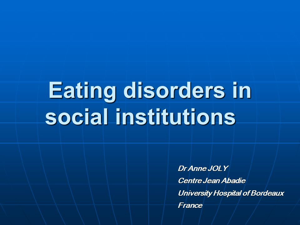 Introduction Eating behavior : defined by three orders of factors - neurophysiological (hunger/satiety regulation, hypothalamus...) - socio-cultural (learning) - related to the development of personality (related to nutritious function, orality) Symptoms affecting nourishing behaviour Multifactorial etiopathogeny Observed in many psychological and psychiatric diseases (mood disorders, melancholia, psychosis…) Mental Anorexia and bulimia