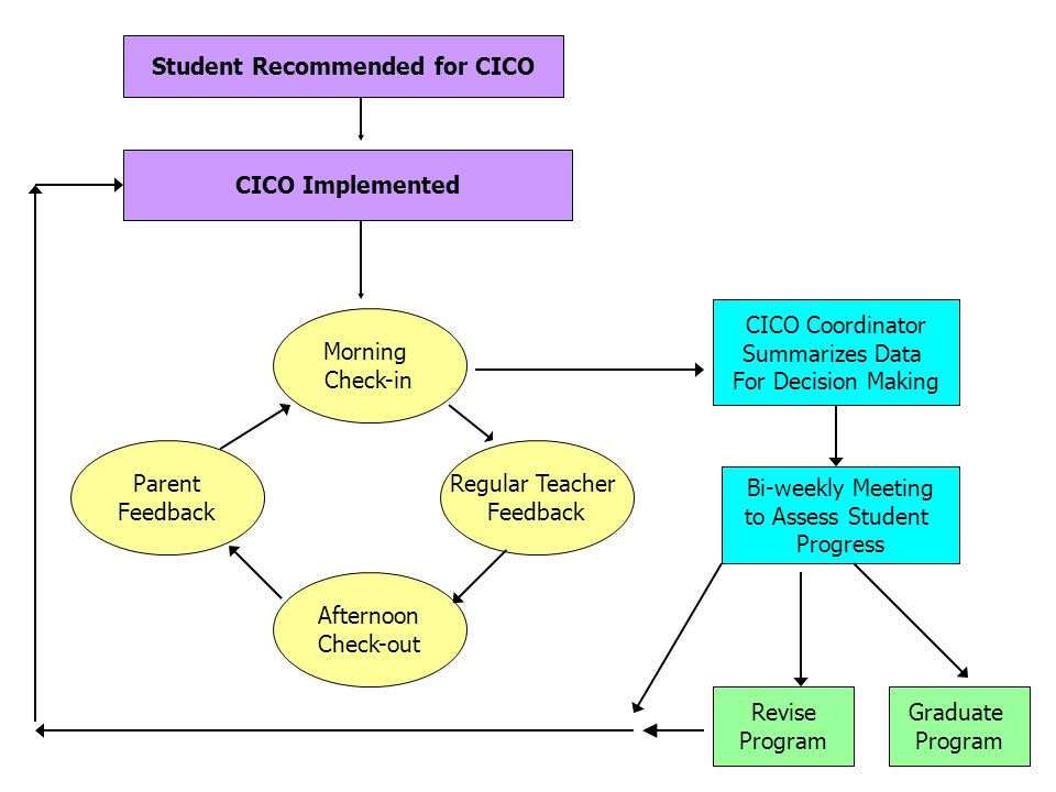 Student Recommended for CICO CICO Implemented Parent Feedback Regular Teacher Feedback Afternoon Check-out Morning Check-in CICO Coordinator Summarizes Data For Decision Making Bi-weekly Meeting to Assess Student Progress Graduate Program Revise Program