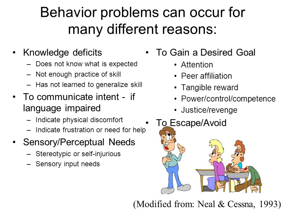 Behavior problems can occur for many different reasons: Knowledge deficits –Does not know what is expected –Not enough practice of skill –Has not learned to generalize skill To communicate intent - if language impaired –Indicate physical discomfort –Indicate frustration or need for help Sensory/Perceptual Needs –Stereotypic or self-injurious –Sensory input needs To Gain a Desired Goal Attention Peer affiliation Tangible reward Power/control/competence Justice/revenge To Escape/Avoid (Modified from: Neal & Cessna, 1993)