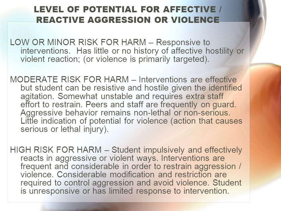 LEVEL OF POTENTIAL FOR AFFECTIVE / REACTIVE AGGRESSION OR VIOLENCE LOW OR MINOR RISK FOR HARM – Responsive to interventions. Has little or no history