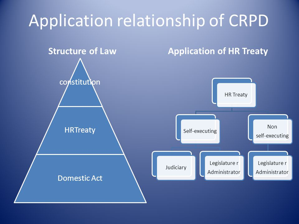 Application relationship of CRPD Structure of Law constitution HRTreaty Domestic Act Application of HR Treaty HR TreatySelf-executingJudiciary Legislature r Administrator Non self-executing Legislature r Administrator