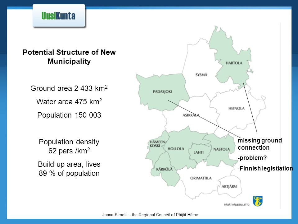 Jaana Simola – the Regional Council of Päijät-Häme Potential Structure of New Municipality Ground area 2 433 km 2 Water area 475 km 2 Population 150 003 Population density 62 pers./km 2 Build up area, lives 89 % of population missing ground connection -problem.