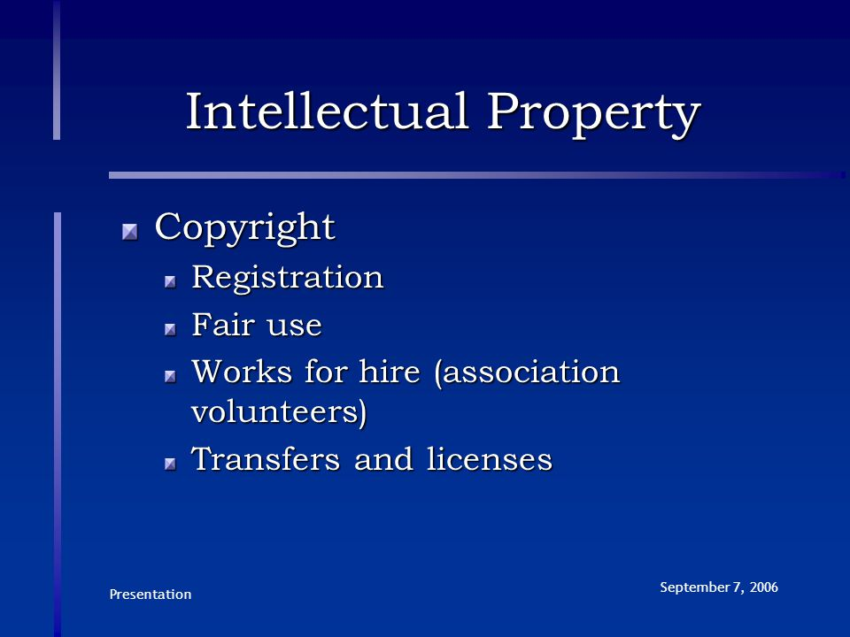 Presentation September 7, 2006 Intellectual Property CopyrightRegistration Fair use Works for hire (association volunteers) Transfers and licenses