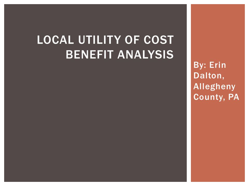 By: Erin Dalton, Allegheny County, PA LOCAL UTILITY OF COST BENEFIT ANALYSIS