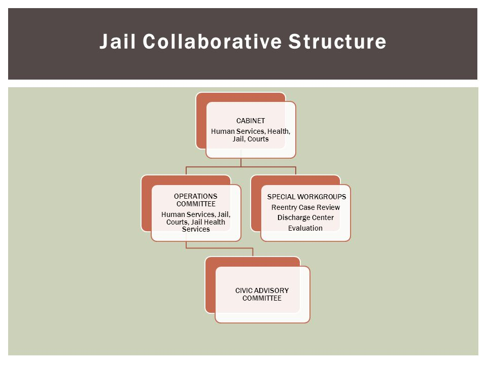 Jail Collaborative Structure CABINET Human Services, Health, Jail, Courts OPERATIONS COMMITTEE Human Services, Jail, Courts, Jail Health Services CIVIC ADVISORY COMMITTEE SPECIAL WORKGROUPS Reentry Case Review Discharge Center Evaluation