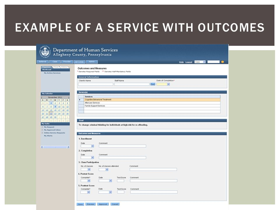 EXAMPLE OF A SERVICE WITH OUTCOMES