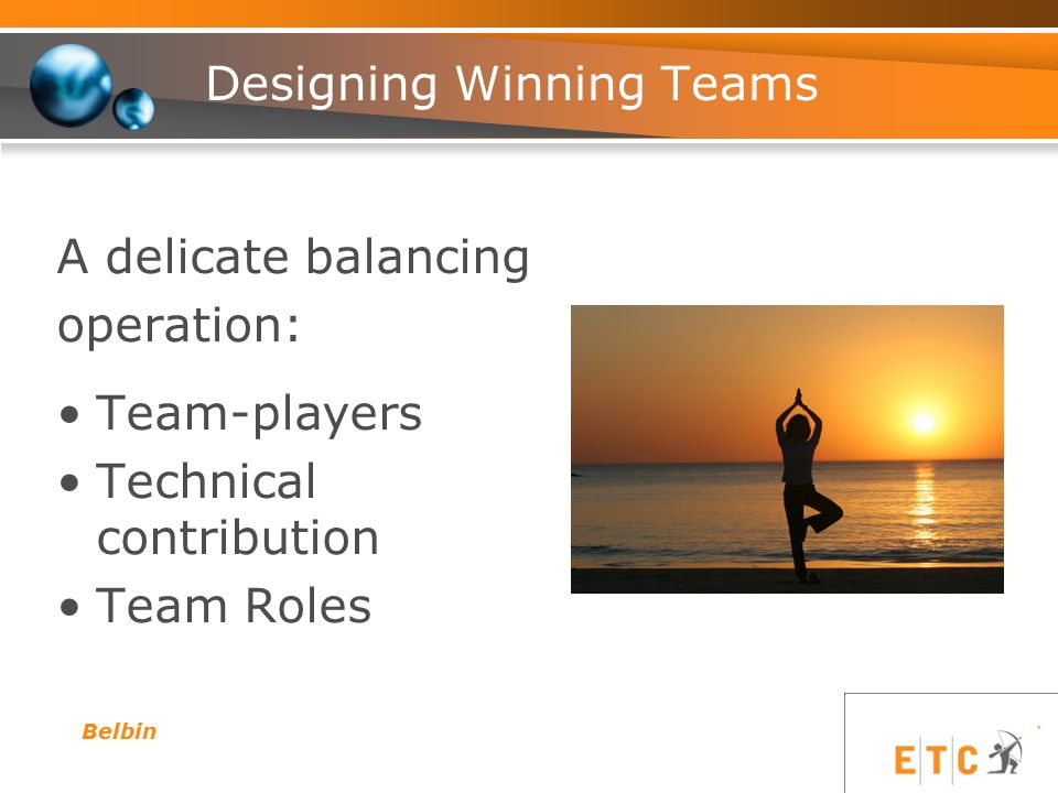 A delicate balancing operation: Team-players Technical contribution Team Roles Belbin