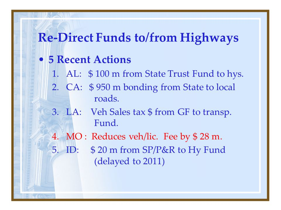 Re-Direct Funds to/from Highways 5 Recent Actions 1.AL: $ 100 m from State Trust Fund to hys.
