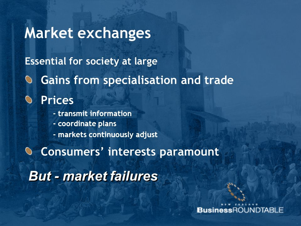 Market exchanges Essential for society at large Gains from specialisation and trade Prices - transmit information - coordinate plans - markets continu