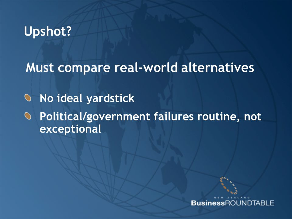 Upshot? No ideal yardstick Political/government failures routine, not exceptional Must compare real-world alternatives