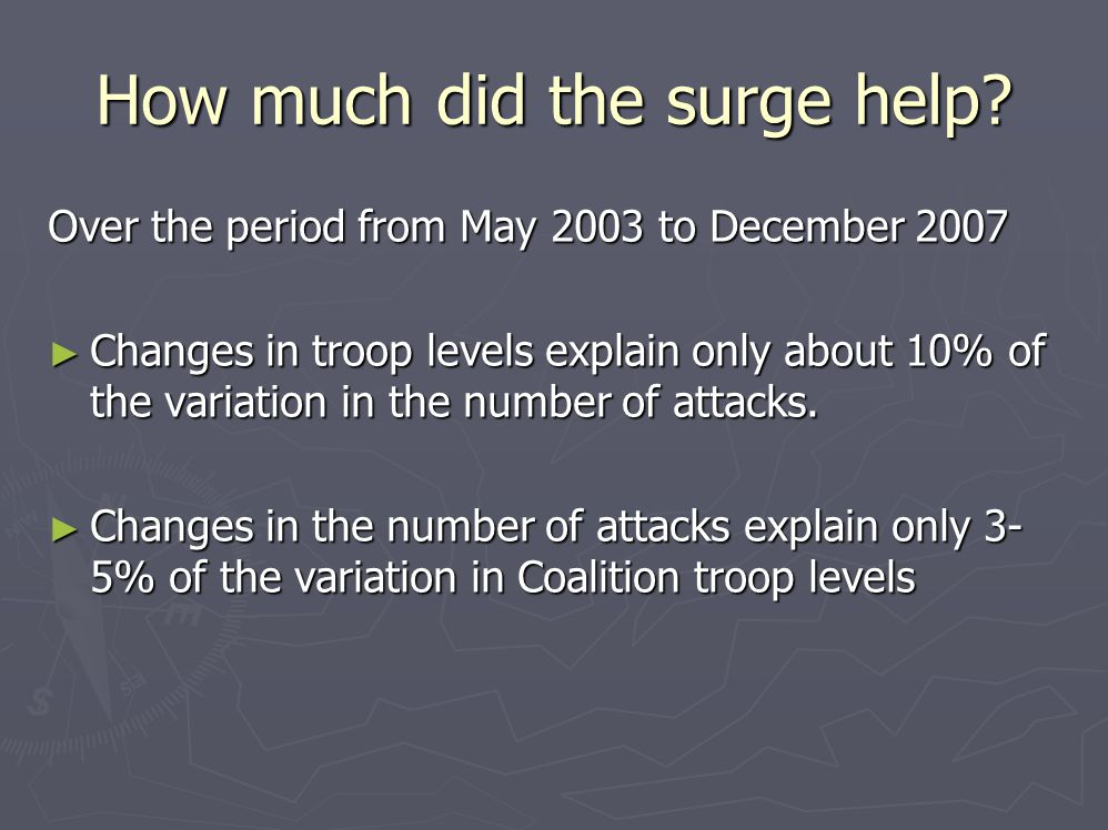 How much did the surge help? Over the period from May 2003 to December 2007 ► Changes in troop levels explain only about 10% of the variation in the n