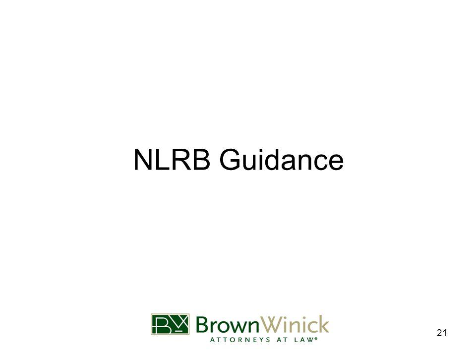 21 NLRB Guidance