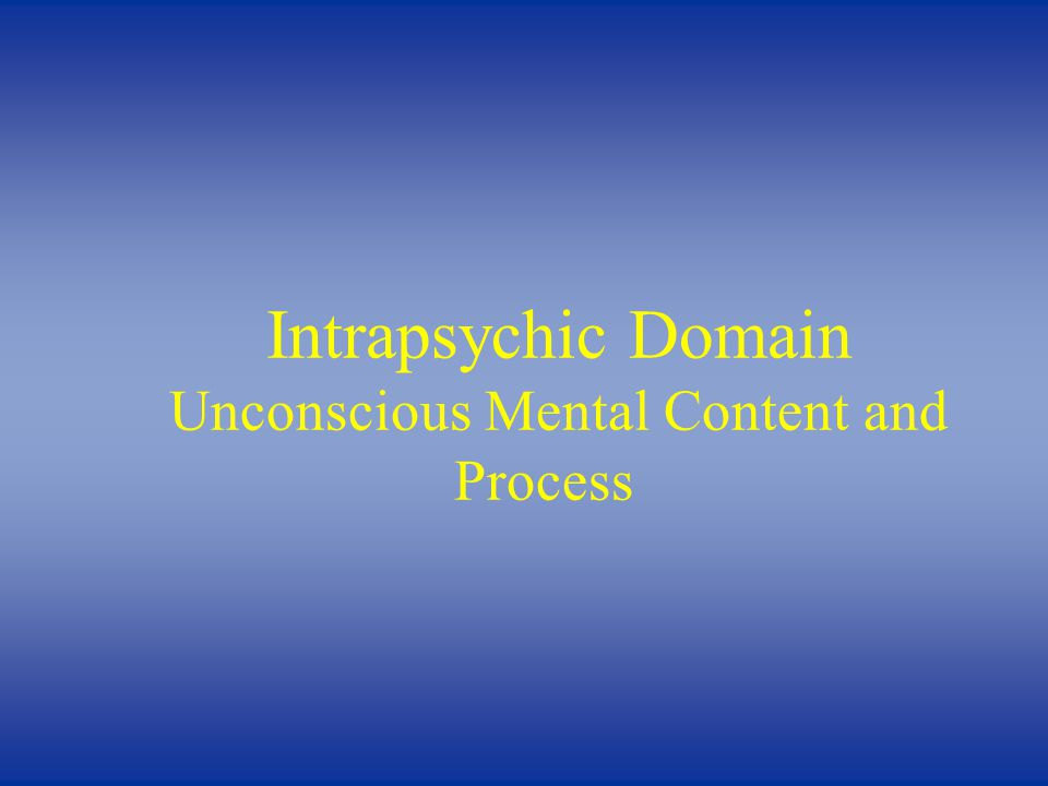 Intrapsychic Domain Unconscious Mental Content and Process