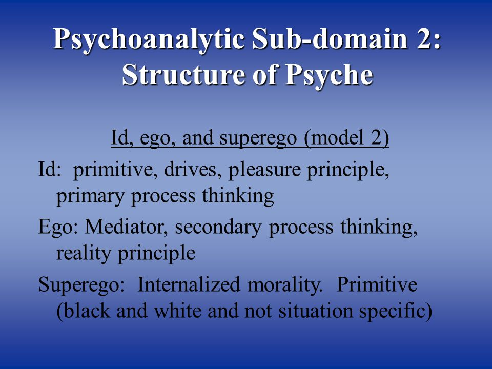 Psychoanalytic Sub-domain 2: Structure of Psyche Id, ego, and superego (model 2) Id: primitive, drives, pleasure principle, primary process thinking Ego: Mediator, secondary process thinking, reality principle Superego: Internalized morality.