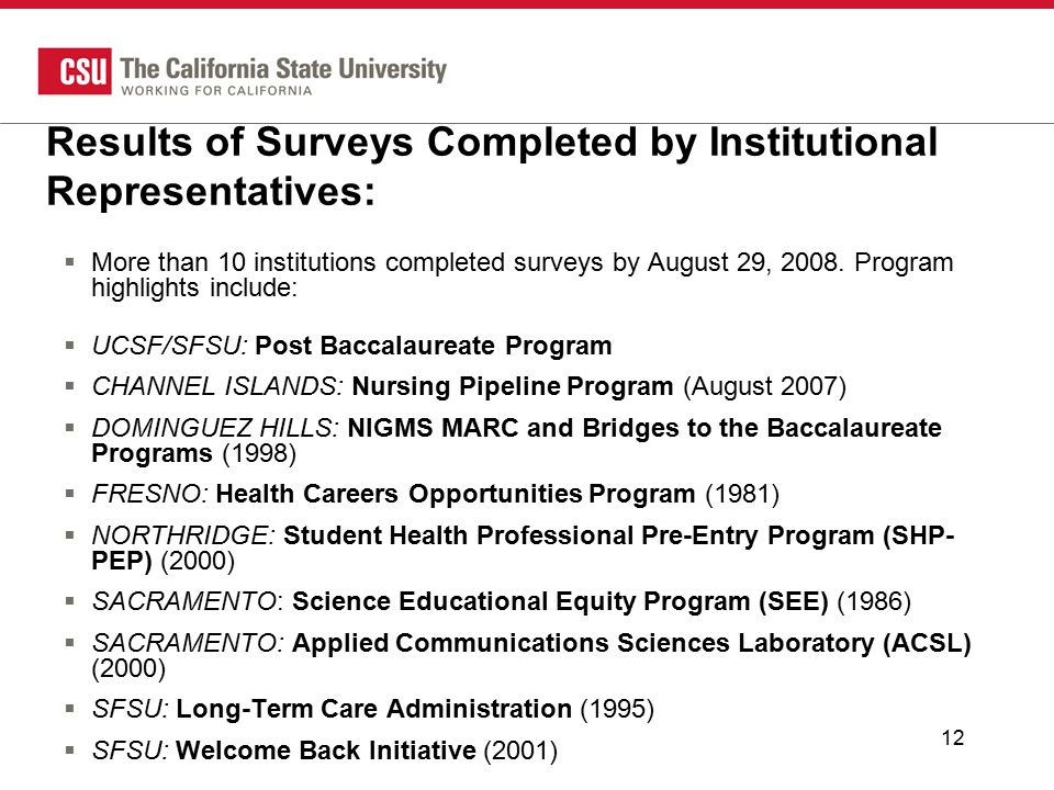 12 Results of Surveys Completed by Institutional Representatives:  More than 10 institutions completed surveys by August 29, 2008.