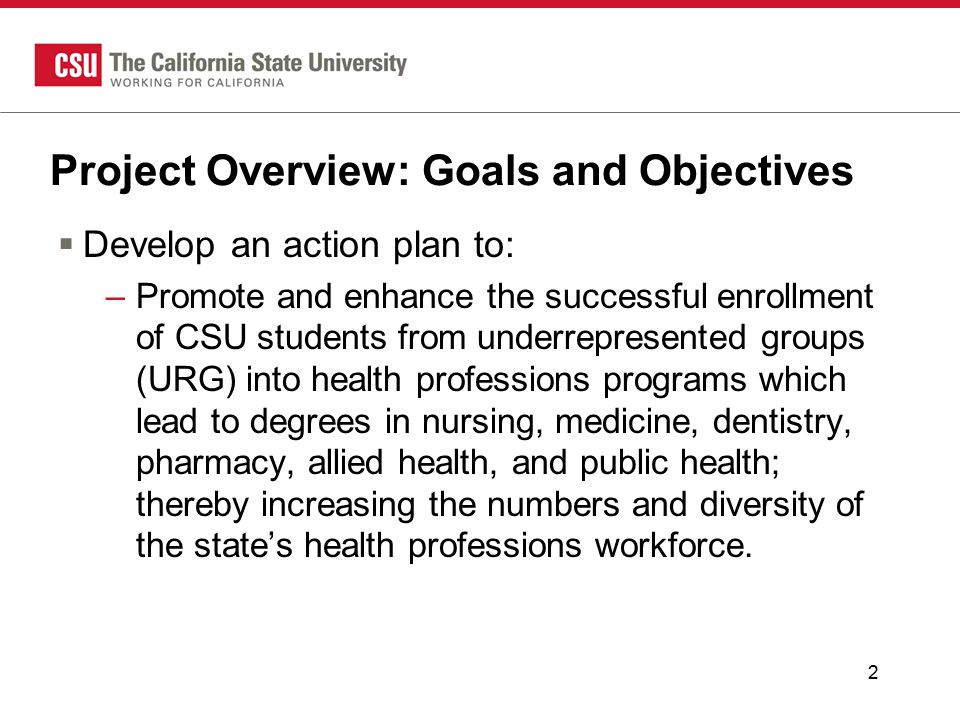 2 Project Overview: Goals and Objectives  Develop an action plan to: –Promote and enhance the successful enrollment of CSU students from underrepresented groups (URG) into health professions programs which lead to degrees in nursing, medicine, dentistry, pharmacy, allied health, and public health; thereby increasing the numbers and diversity of the state's health professions workforce.